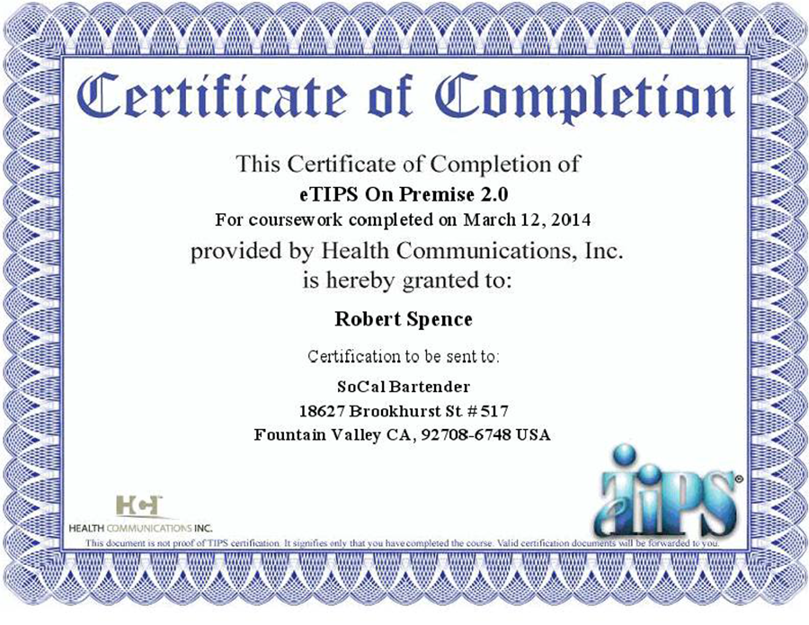TIPS Certificate of Completion - Robert Spence